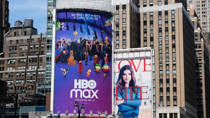 Mandatory Credit: Photo by JUSTIN LANE/EPA-EFE/Shutterstock (10661383a)A billboard for the new streaming service HBO Max in New York, New York, USA, 27 May 2020.