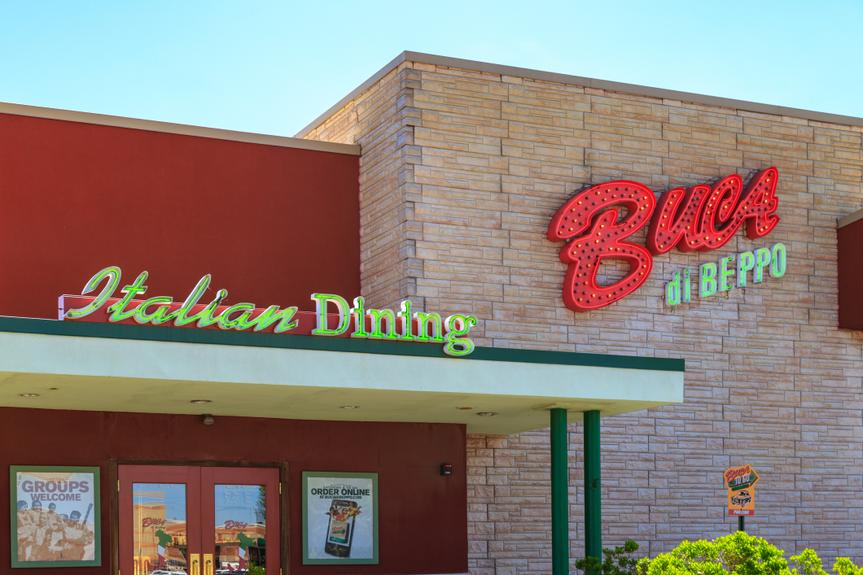 Wyomissing, PA, USA - June 14, 2018: Buca di Beppo is an American restaurant chain with 92 locations specializing in Italian-American food.