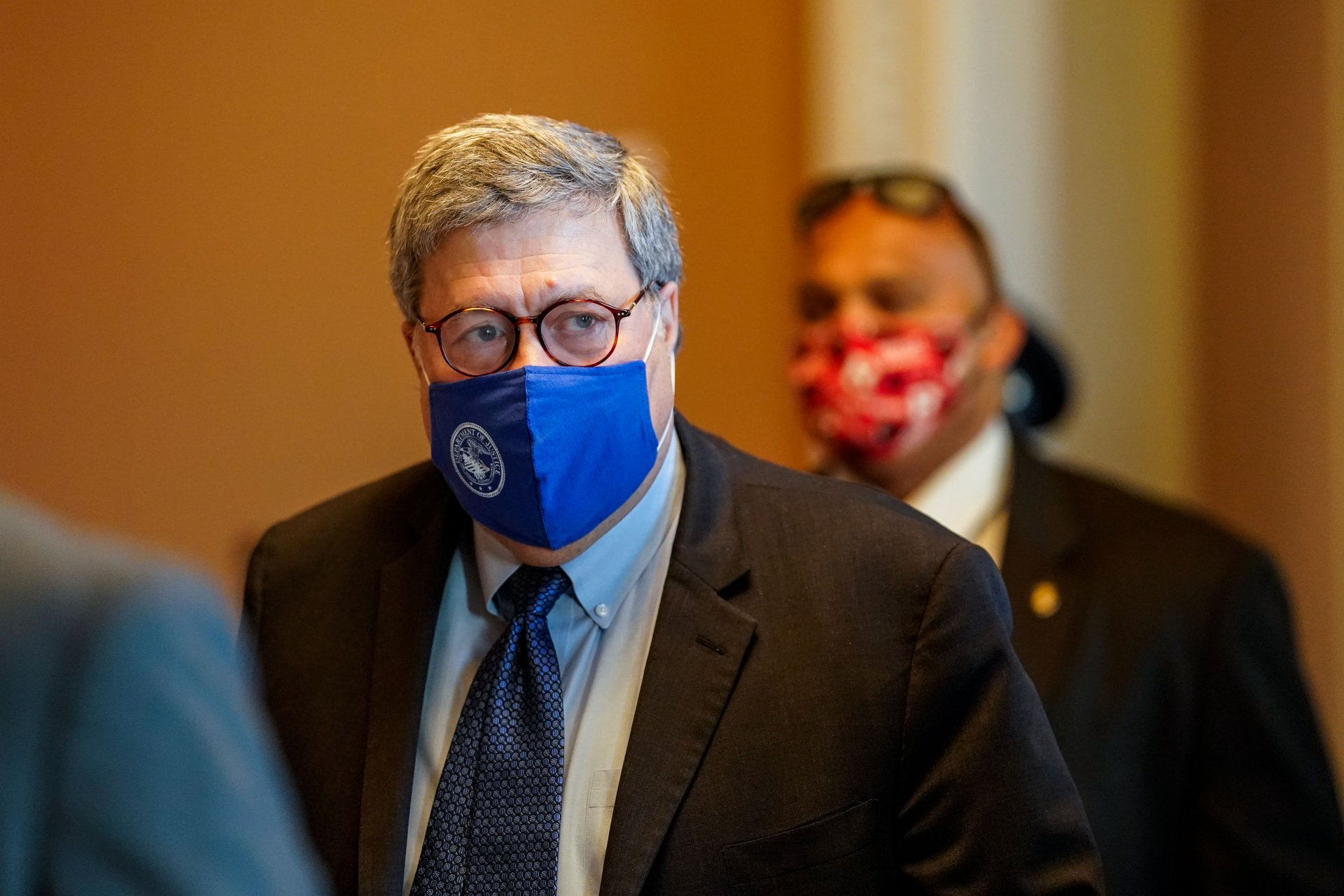 Mandatory Credit: Photo by Kent Nishimura/Los Angeles Times/Shutterstock (11010669a)US Attorney General William Barr walks out from the office of Senate Majority Leader Mitch McConnell (D-KY) at the US Capitol Building on Monday, Nov.
