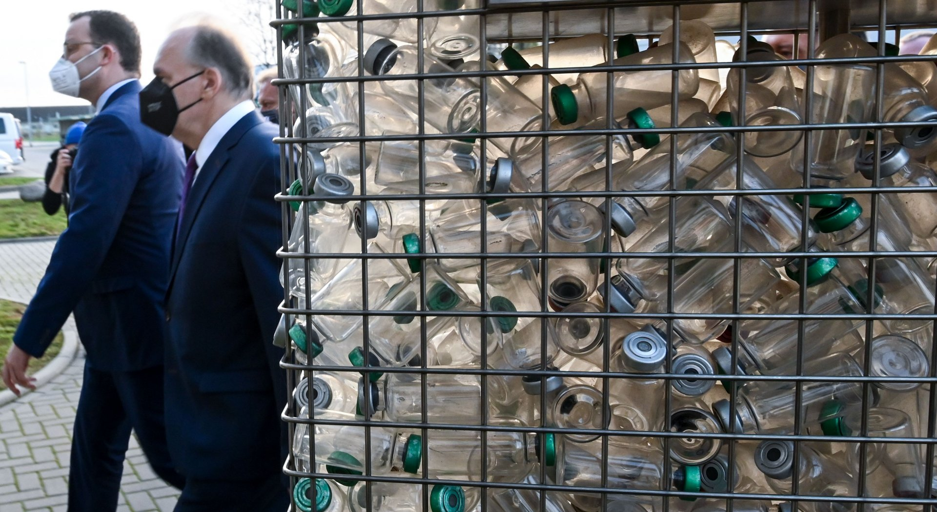 Mandatory Credit: Photo by HENDRIK SCHMIDT/POOL/EPA-EFE/Shutterstock (11030427u)German Minister of Health Jens Spahn (L) with Prime Minister of Saxony-Anhalt Reiner Haseloff (R) during a visit to the vaccine manufacturer IDT Biologika's plant in Dessau-Rosslau, Germany, 23 November 2020.