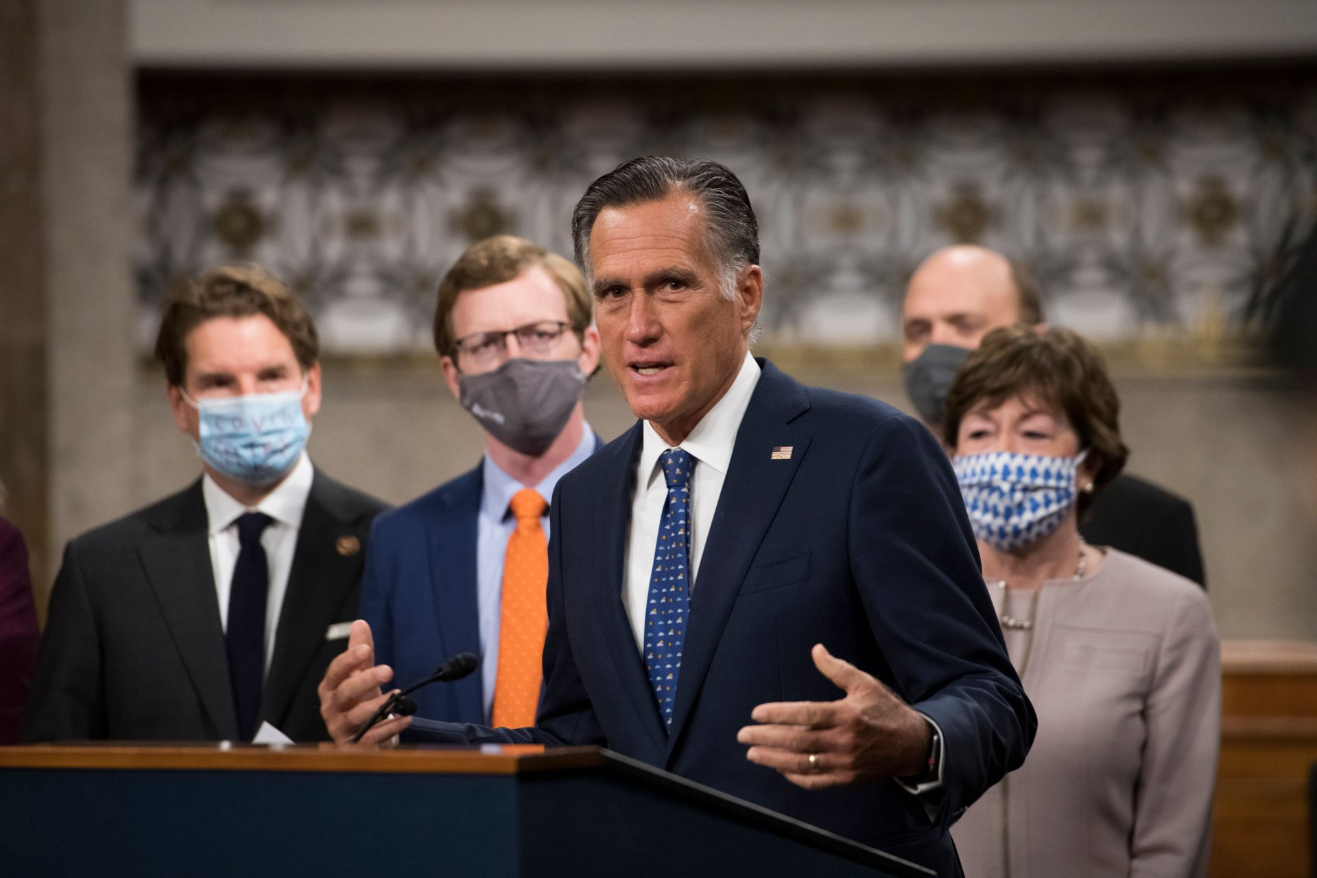 Mandatory Credit: Photo by Shutterstock (11088535s)United States Senator Mitt Romney (Republican of Utah) speaks at a Capitol Hill press conference in Washington, DC announcing a bipartisan $908 billion COVID emergency relief framework that is designed to break the partisan deadlock and bring economic relief to millions of Americans.
