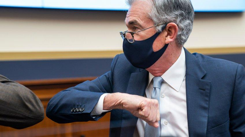Mandatory Credit: Photo by Shutterstock (11089766d)Federal Reserve Chair Jerome Powell prepares to speak during a House Financial Services Committee hearing on 'Oversight of the Treasury Department's and Federal Reserve's Pandemic Response' in the Rayburn House Office Building in Washington, DC, USA, 02.