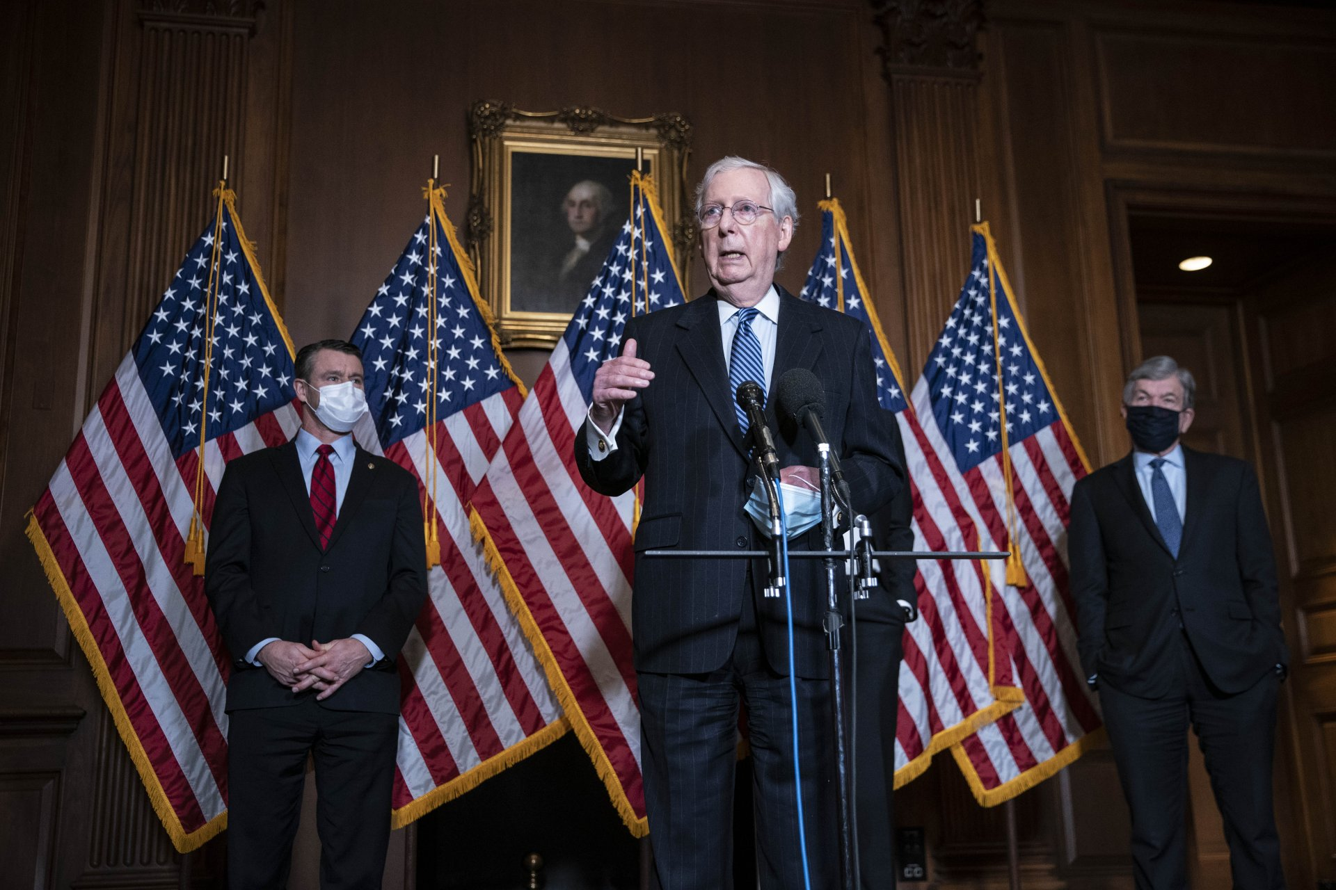 Mandatory Credit: Photo by Shutterstock (11398620b)United States Senate Majority Leader Mitch McConnell (Republican of Kentucky), speaks during a news conference following a weekly meeting with the Senate Republican caucus at the U.