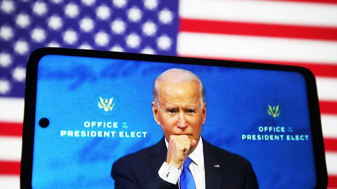 Mandatory Credit: Photo by Pavlo Gonchar/SOPA Images/Shutterstock (11549452e)In this photo illustration the US President-elect Joe Biden speaks after the Electoral College formally confirmed his victory during the 2020 U.