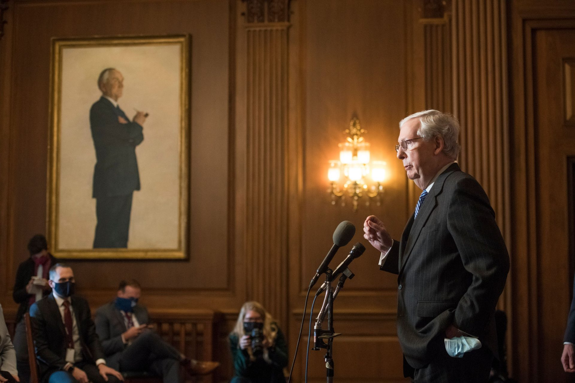 Mandatory Credit: Photo by Shutterstock (11553732bf)United States Senate Majority Leader Mitch McConnell (Republican of Kentucky) speaks during a news conference following the weekly meeting with the Senate Republican caucus at the U.