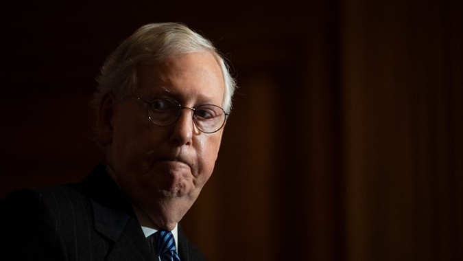 Mandatory Credit: Photo by Shutterstock (11553986j)United States Senate Majority Leader Mitch McConnell (Republican of Kentucky), conducts a news conference in the U.