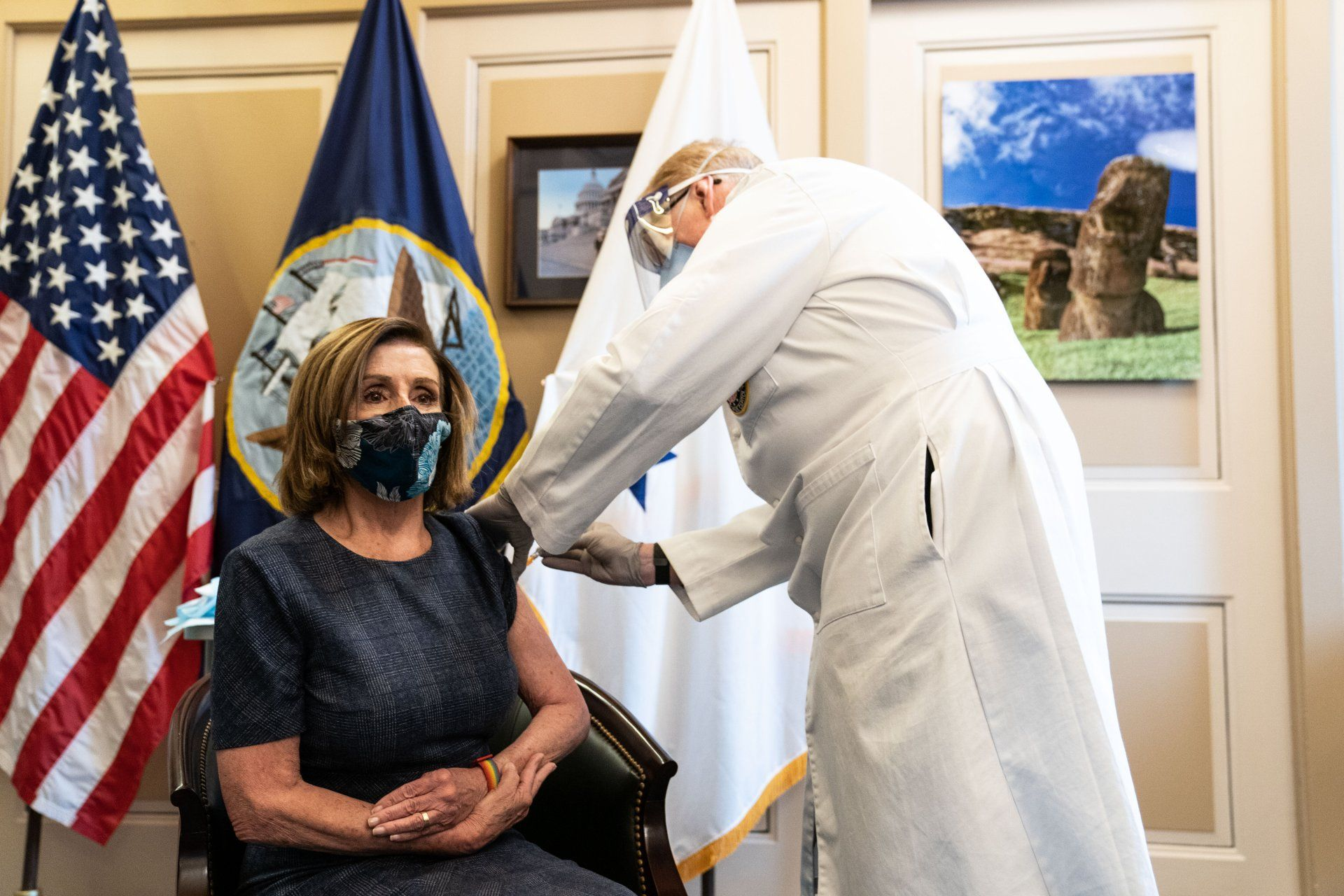 Mandatory Credit: Photo by Shutterstock (11596506p)Speaker of the United States House of Representatives Nancy Pelosi (Democrat of California), receives the Pfizer-Biontech COVID-19 vaccine in the US Capitol Building in Washington DC on December 18th, 2020.