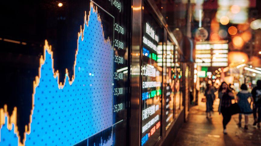 Financial stock exchange market display screen board on the street.