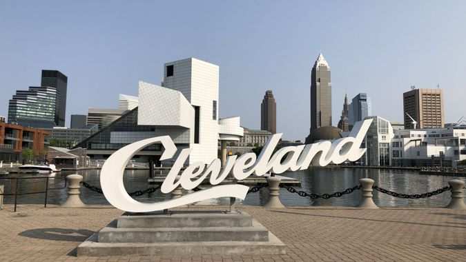 This famous sign is one of the most popular places in Cleveland and it has the downtown skyline in the background.