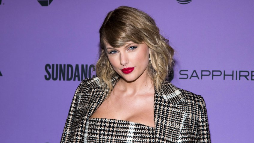 "Mandatory Credit: Photo by Charles Sykes/Invision/AP/Shutterstock (10775739a)Taylor Swift attends the premiere of ""Taylor Swift: Miss Americana"" at the Eccles Theater during the 2020 Sundance Film Festival in Park City, Utah."