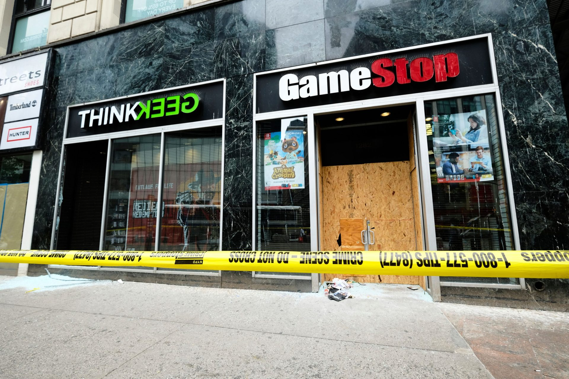 Mandatory Credit: Photo by Evan Agostini/Invision/AP/Shutterstock (10667337b)ThinkGeek and GameStop stores on Broadway show signs of damage after a night of looting and and social unrest following George Floyd police brutality protests in Manhattan, in New YorkNYC Looting Aftermath, New York, United States - 02 Jun 2020.
