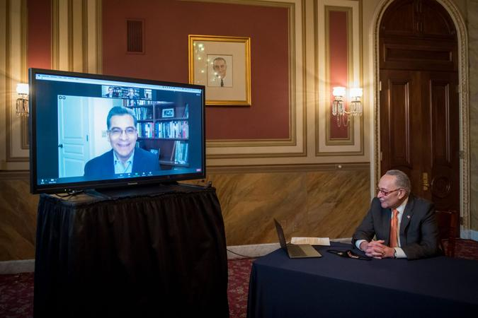 Mandatory Credit: Photo by Shutterstock (11560498c)United States Senate Minority Leader Chuck Schumer (Democrat of New York) is joined virtually by Health and Human Services Secretary-designate Xavier Becerra during a press conference at the US Capitol in Washington, DC,.