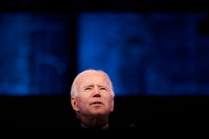 Mandatory Credit: Photo by Andrew Harnik/AP/Shutterstock (11673489i)President-elect Joe Biden speaks at The Queen theater, in Wilmington, DelBiden, Wilmington, United States - 29 Dec 2020.