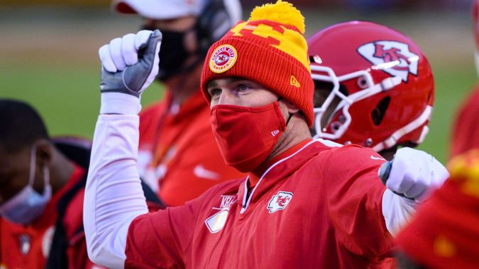 Mandatory Credit: Photo by Reed Hoffmann/AP/Shutterstock (11677888iv)Kansas City Chiefs tight end Travis Kelce watches from the sidelines during the first half of an NFL football game against the Los Angeles Chargers, in Kansas City, MoChargers Chiefs Football, Kansas City, United States - 03 Jan 2021.