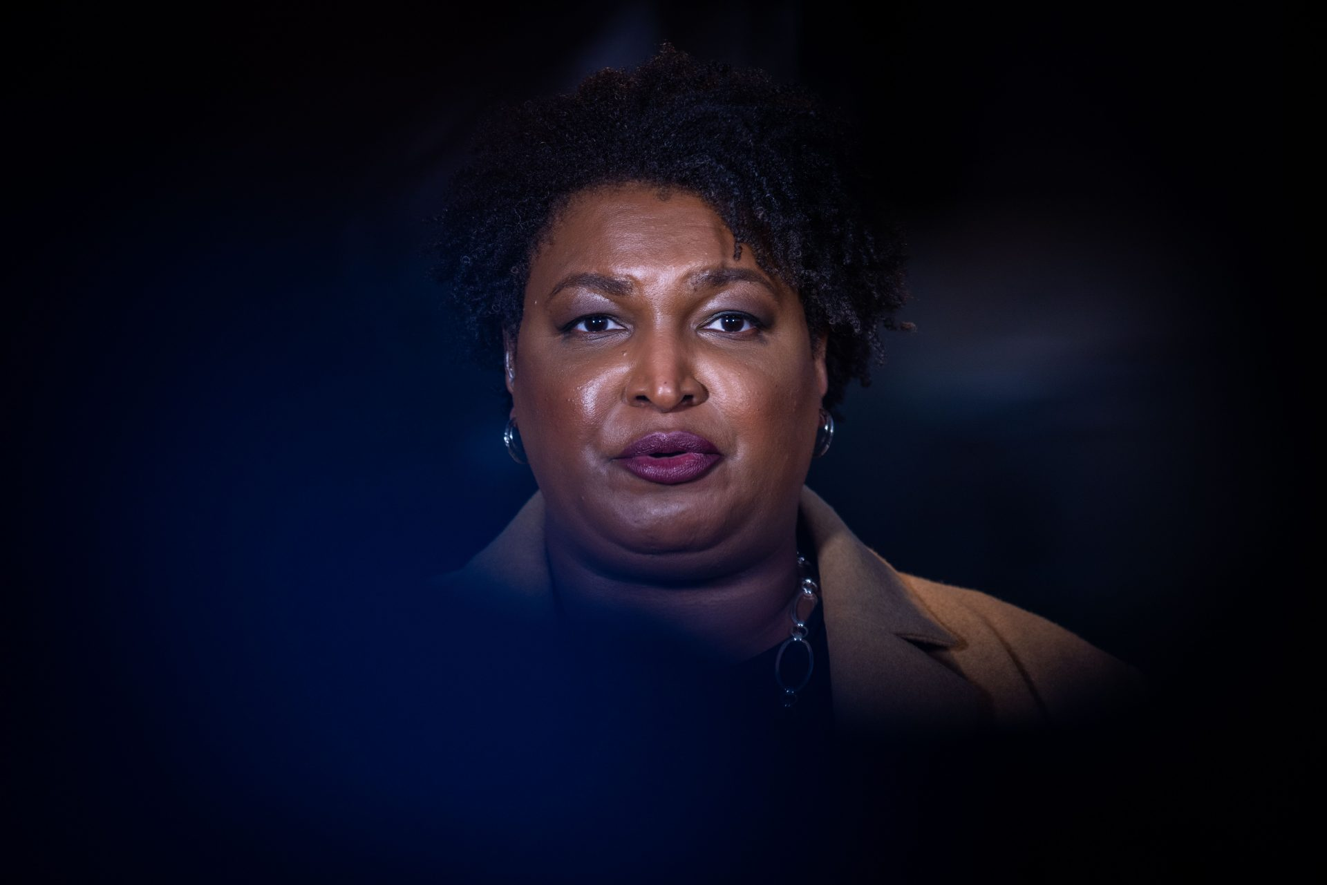 Mandatory Credit: Photo by Nathan Posner/Shutterstock (11684938ah)Former Gubernatorial candidate Stacey Abrams gives interviews to local media and greets supporters on Election day in Atlanta, GeorgiaStacey Abrams election day interview, Atlanta, Georgia, USA - 05 Jan 2021.