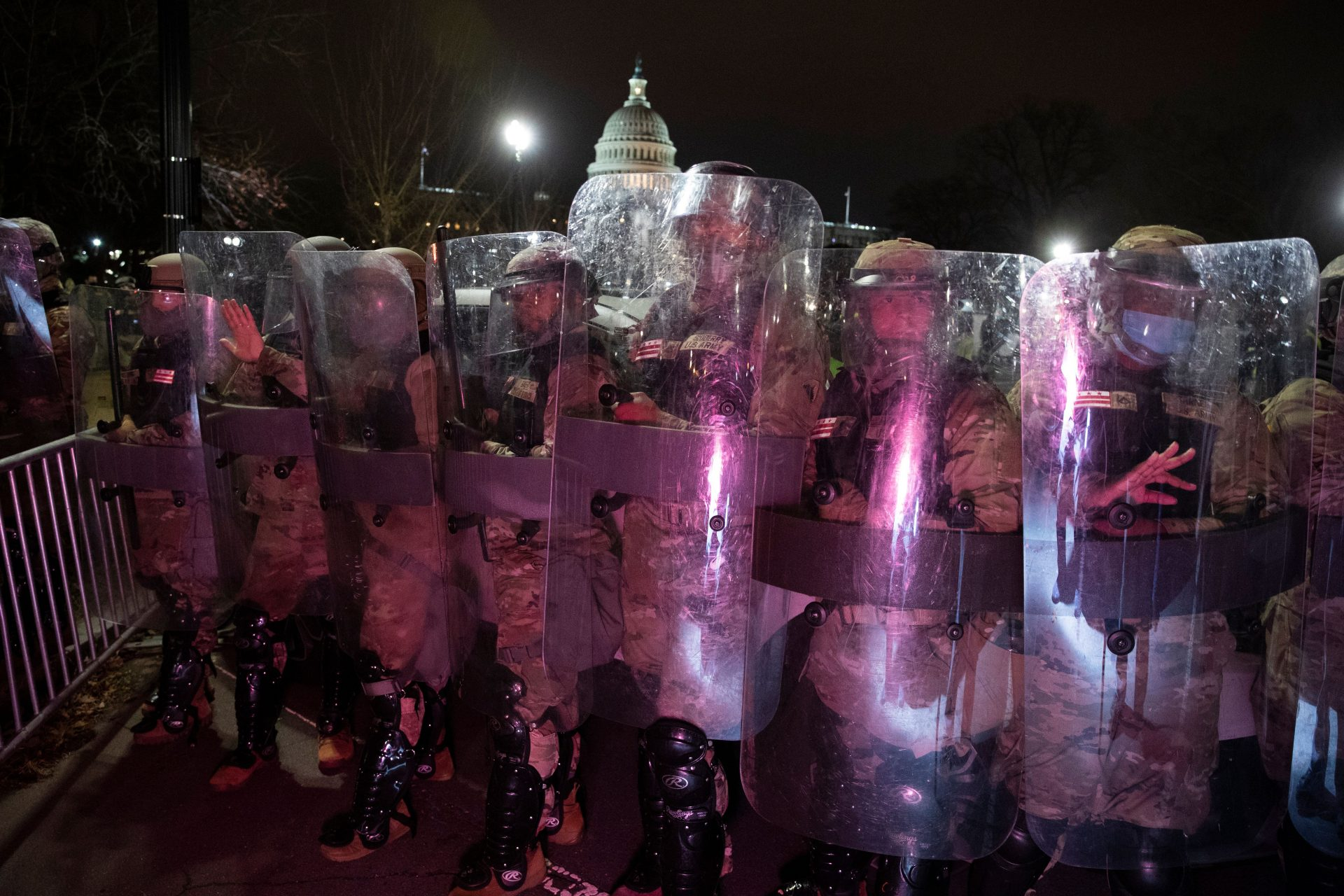 Mandatory Credit: Photo by MICHAEL REYNOLDS/EPA-EFE/Shutterstock (11695567c)DC National Guard clear an area near the West Front of the US Capitol after pro-Trump protesters stormed the grounds earlier in the day, in Washington, DC, USA, 06 January 2021.