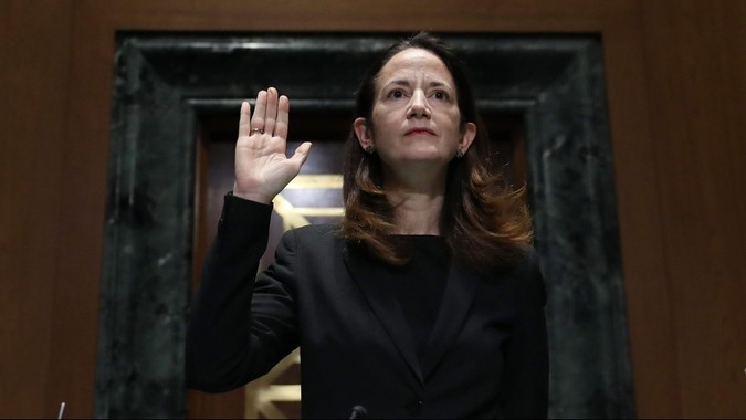 Mandatory Credit: Photo by Shutterstock (11716996n)WASHINGTON, DC - JANUARY 19: Avril Haines is sworn in at the start of her confirmation hearing before the Senate Intelligence Committee to be President-elect Joe Biden's national intelligence director in Washington, DC.