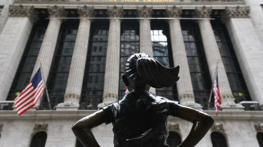 Mandatory Credit: Photo by Erik Pendzich/Shutterstock (11728929h)The Fearless Girl bronze sculpture by Kristen Visbal stands across from the New York Stock Exchange on Wall StreetCoronavirus outbreak, New York, USA - 27 Jan 2021.