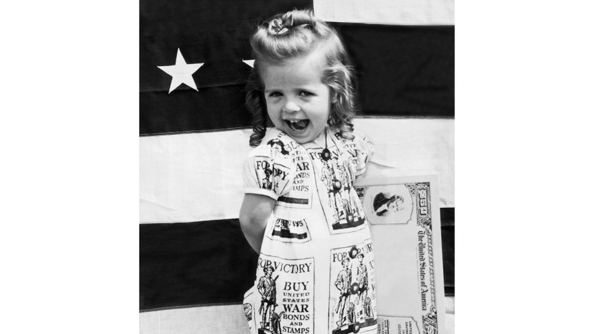 Mandatory Credit: Photo by Underwood Archives/Shutterstock (4436515a)Chicago, Illinois: August 10, 1943 Ann Fletchall, a three year old 'Minute Girl' advises everyone to buy War Bonds in the coming third War Loan drive.