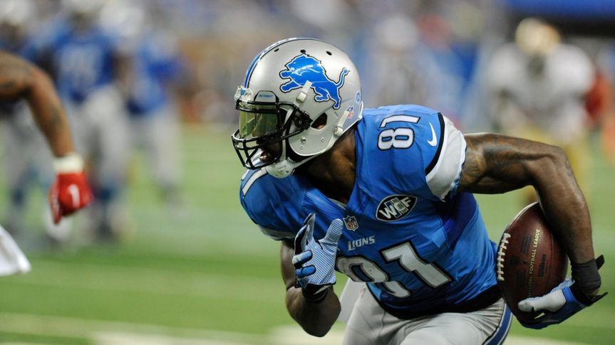 Mandatory Credit: Photo by Jose Juarez/AP/Shutterstock (9274786x)Detroit Lions wide receiver Calvin Johnson runs after a reception during the second half of an NFL football game against the San Francisco 49ers, in Detroit49ers Lions Football, Detroit, USA - 27 Dec 2015.