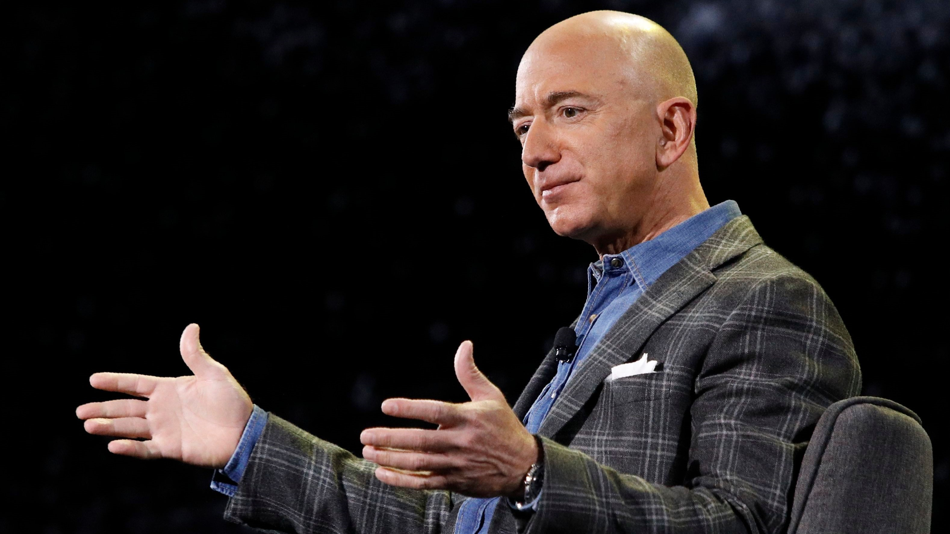 Mandatory Credit: Photo by John Locher/AP/Shutterstock (10286603a)Amazon CEO Jeff Bezos speaks at the the Amazon re:MARS convention, in Las VegasAmazon Bezos, Las Vegas, USA - 06 Jun 2019.