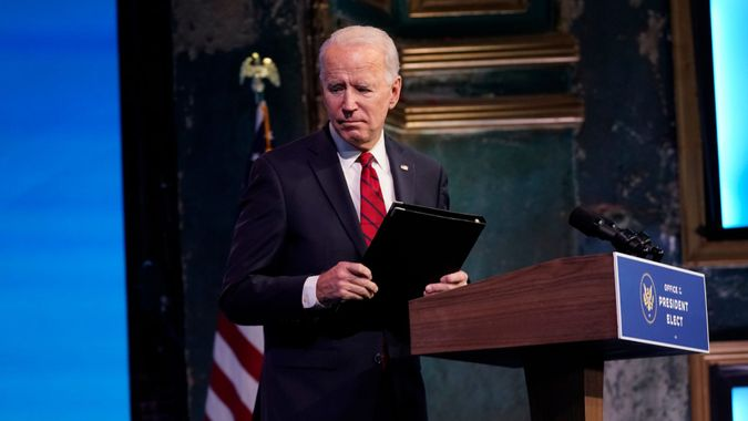 Mandatory Credit: Photo by Matt Slocum/AP/Shutterstock (11712122g)President-elect Joe Biden leaves after speaking at an event at The Queen theater, in Wilmington, DelBiden, Wilmington, United States - 15 Jan 2021.