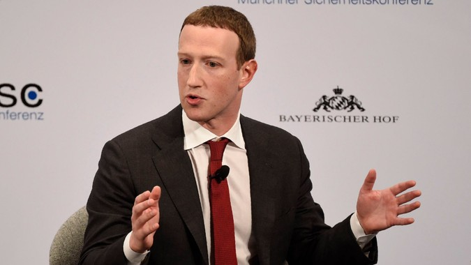 Mandatory Credit: Photo by Jens Meyer/AP/Shutterstock (10557363ae)Facebook CEO Mark Zuckerberg speaks on the second day of the Munich Security Conference in Munich, GermanySecurity Conference, Munich, Germany - 15 Feb 2020.