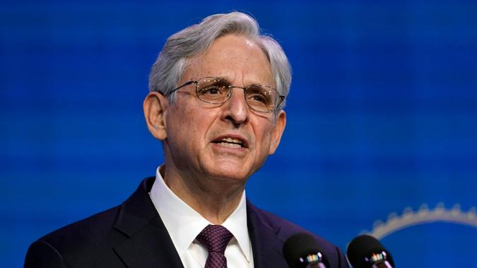 Mandatory Credit: Photo by Susan Walsh/AP/Shutterstock (11698713d)Attorney General nominee Judge Merrick Garland speaks during an event with President-elect Joe Biden and Vice President-elect Kamala Harris at The Queen theater in Wilmington, DelBiden, Wilmington, United States - 07 Jan 2021.