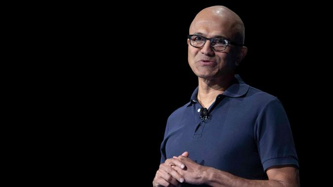 Mandatory Credit: Photo by Mary Altaffer/AP/Shutterstock (10356294a)Microsoft CEO Satya Nadella speaks during an event to launch the Samsung Galaxy Note 10, in New York.