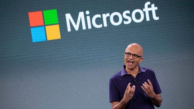 Mandatory Credit: Photo by Mark Lennihan/AP/Shutterstock (10434360b)Microsoft CEO Satya Nadella talks during a company event, in New YorkMicrosoft Event, New York, USA - 02 Oct 2019.