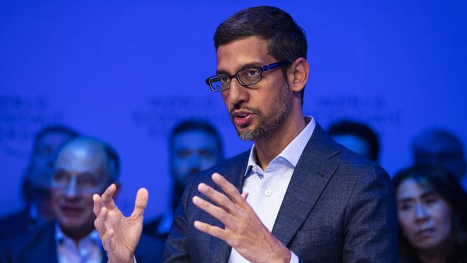 Mandatory Credit: Photo by GIAN EHRENZELLER/EPA-EFE/Shutterstock (10532640bc)Sundar Pichai, Chief Executive Officer, Google and Alphabet, attends a panel session of the 50th annual meeting of the World Economic Forum (WEF) in Davos, Switzerland, 22 January 2020.