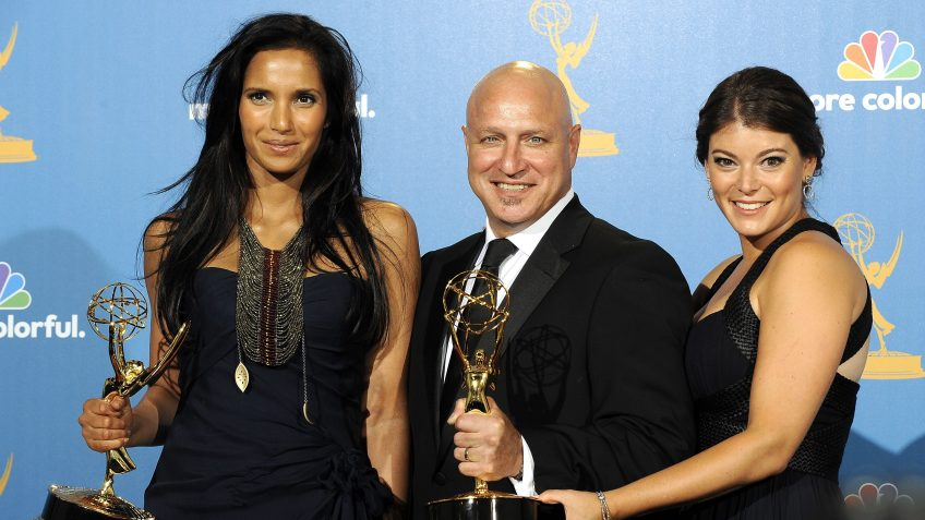 Mandatory Credit: Photo by Paul Buck/EPA/Shutterstock (7642773em)Hosts (l-r) Padma Lakshmi Tom Colicchio and Gail Simmons Hold Their Awards For Winning the Reality-competition Program Award For 'Top Chef' in the Press Room During the 62nd Annual Primetime Emmy Awards Held at the Nokia Theatre in Los Angeles California Usa 29 August 2010 the Primetime Emmy Awards Honor Excellence in Us Primetime Television Programming United States HollywoodUsa Primetime Emmy Awards 2010 - Aug 2010.