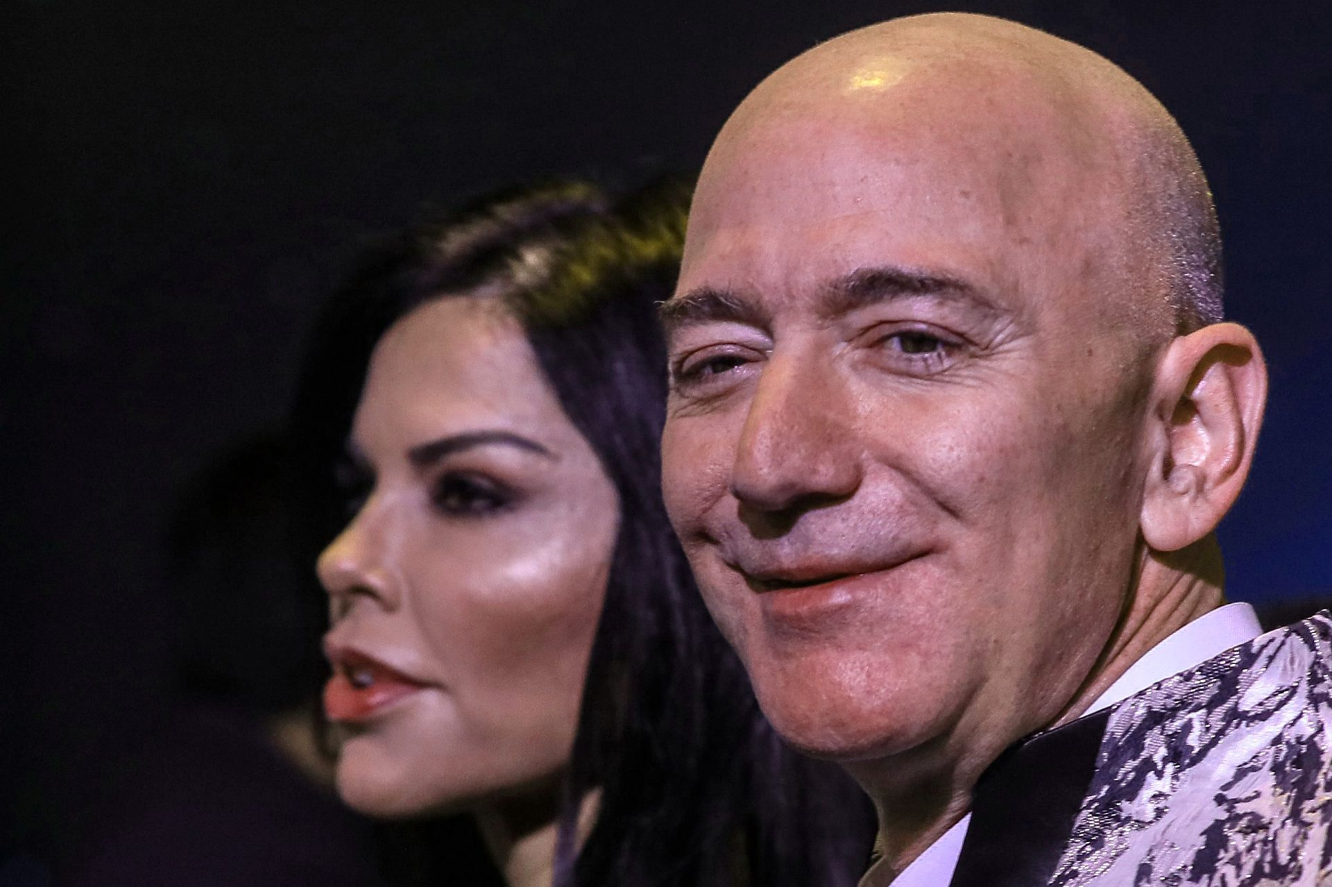 Mandatory Credit: Photo by DIVYAKANT SOLANKI/EPA-EFE/Shutterstock (10528180a)Amazon Founder and CEO Jeff Bezos (R) and his partner, US new anchor Lauren Sanchez (L), poses for photographs during an event in Mumbai, India, 16 January 2020.