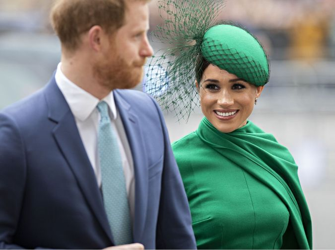 Mandatory Credit: Photo by Rupert Hartley/Shutterstock (10578131m)Meghan Duchess of Sussex arrives alongside Prince Harry at Westminster Abbey to attend the Commonwealth Service - their last engagement as full time working RoyalsCommonwealth Day Service, Westminster Abbey, London, UK - 09 Mar 2020.