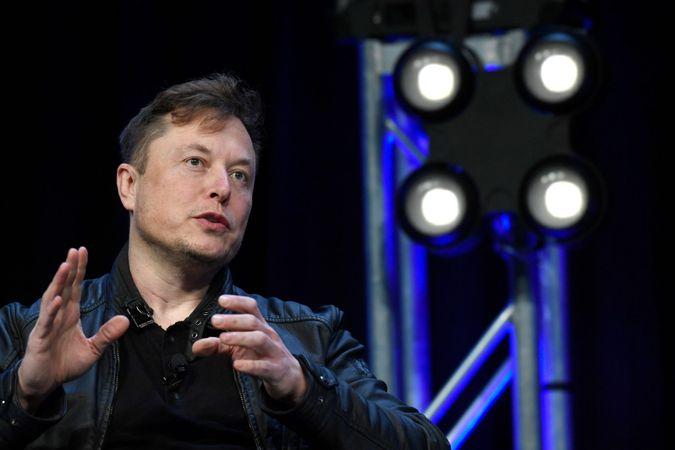 Mandatory Credit: Photo by Susan Walsh/AP/Shutterstock (10636870a)Tesla and SpaceX Chief Executive Officer Elon Musk speaks at the SATELLITE Conference and Exhibition in Washington.