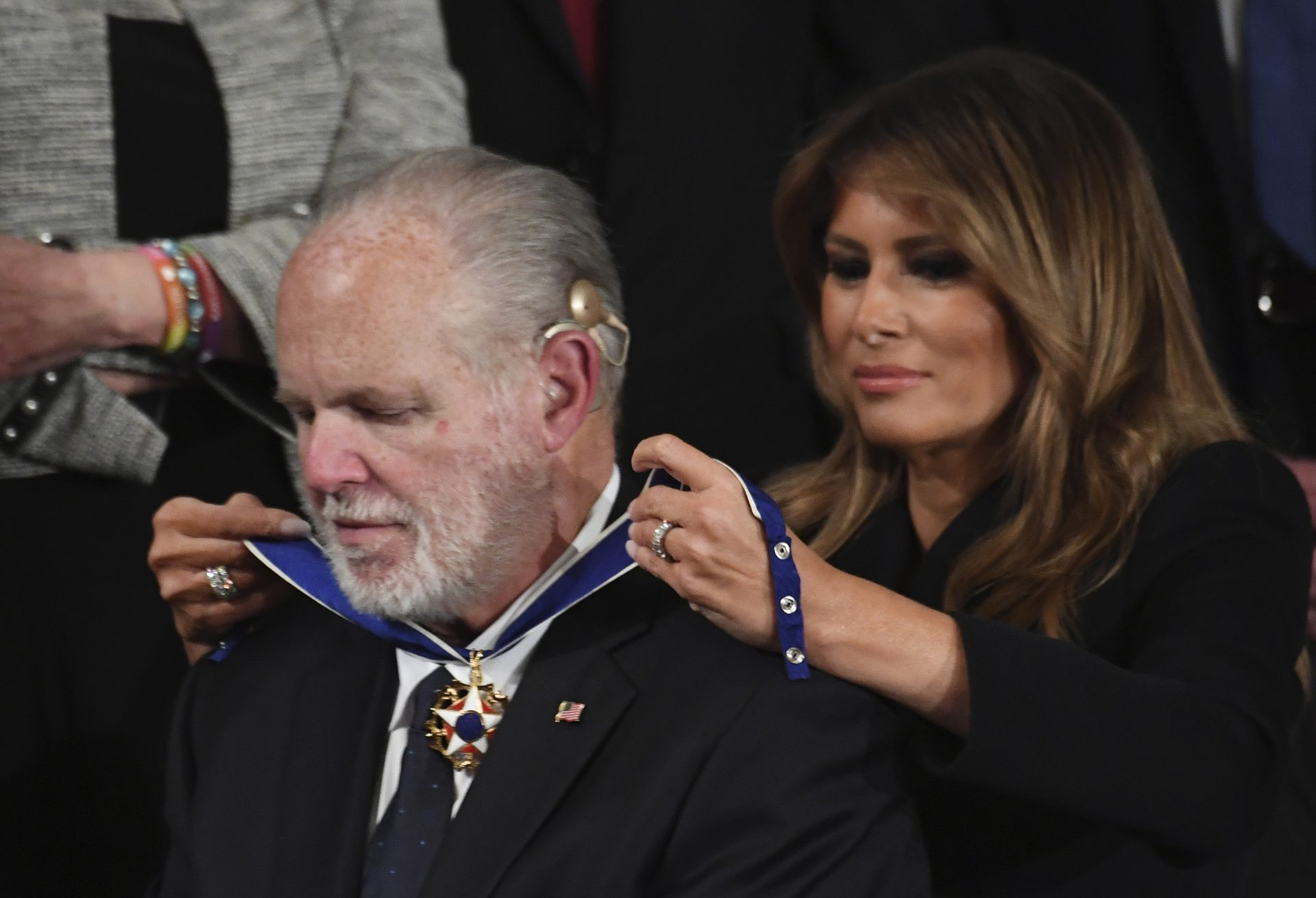 Mandatory Credit: Photo by PAT BENIC/UPI/Shutterstock (11665924n)First Lady Melania Trump presents conservative commentator Rush Limbaugh with the Presidential Medal of Freedom as President Donald Trump delivers his State of the Union address to a joint session of Congress in the House Chamber of the U.