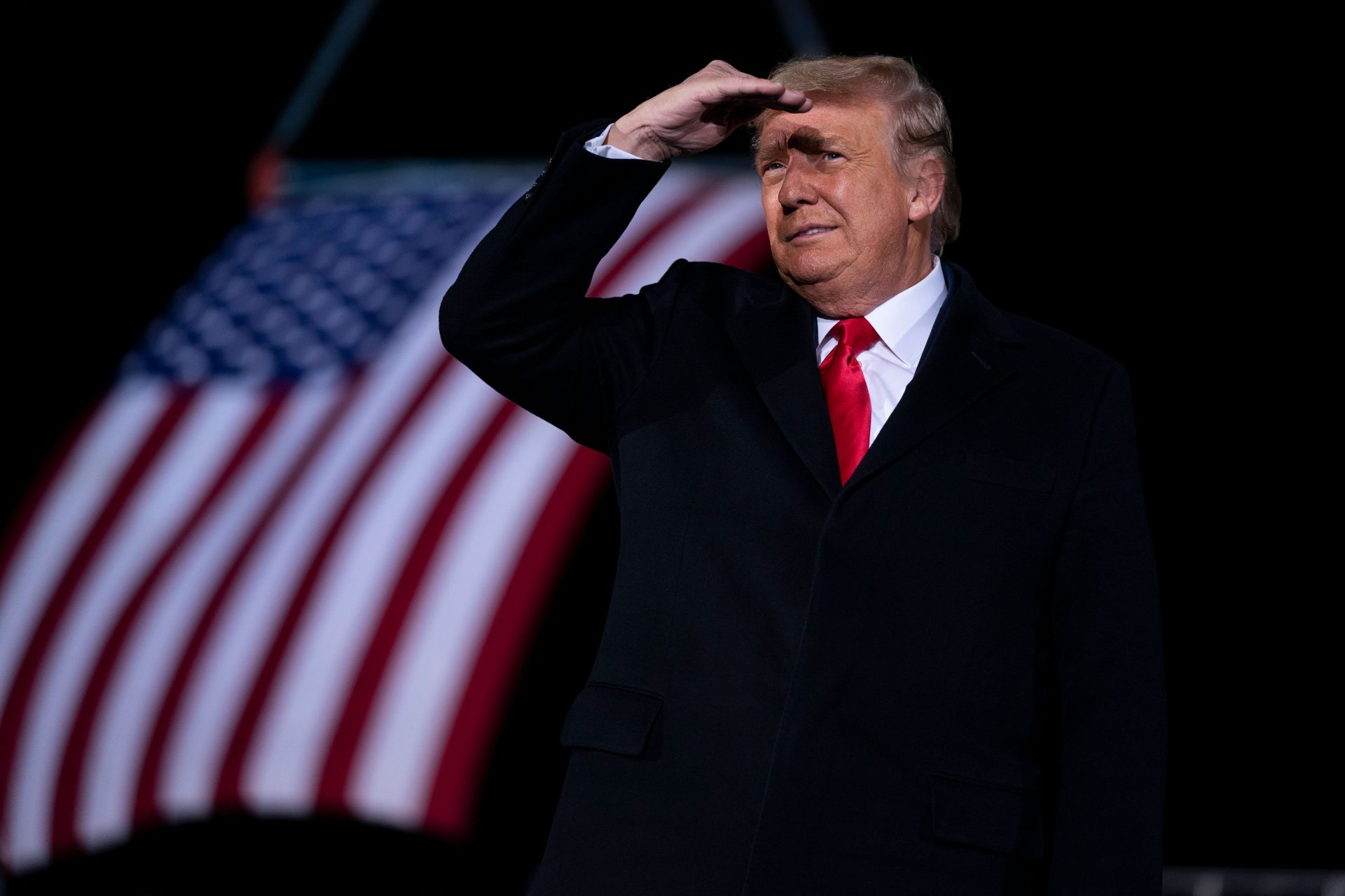 Mandatory Credit: Photo by Evan Vucci/AP/Shutterstock (11696349a)President Donald Trump arrives to speak at a campaign rally for Sen.