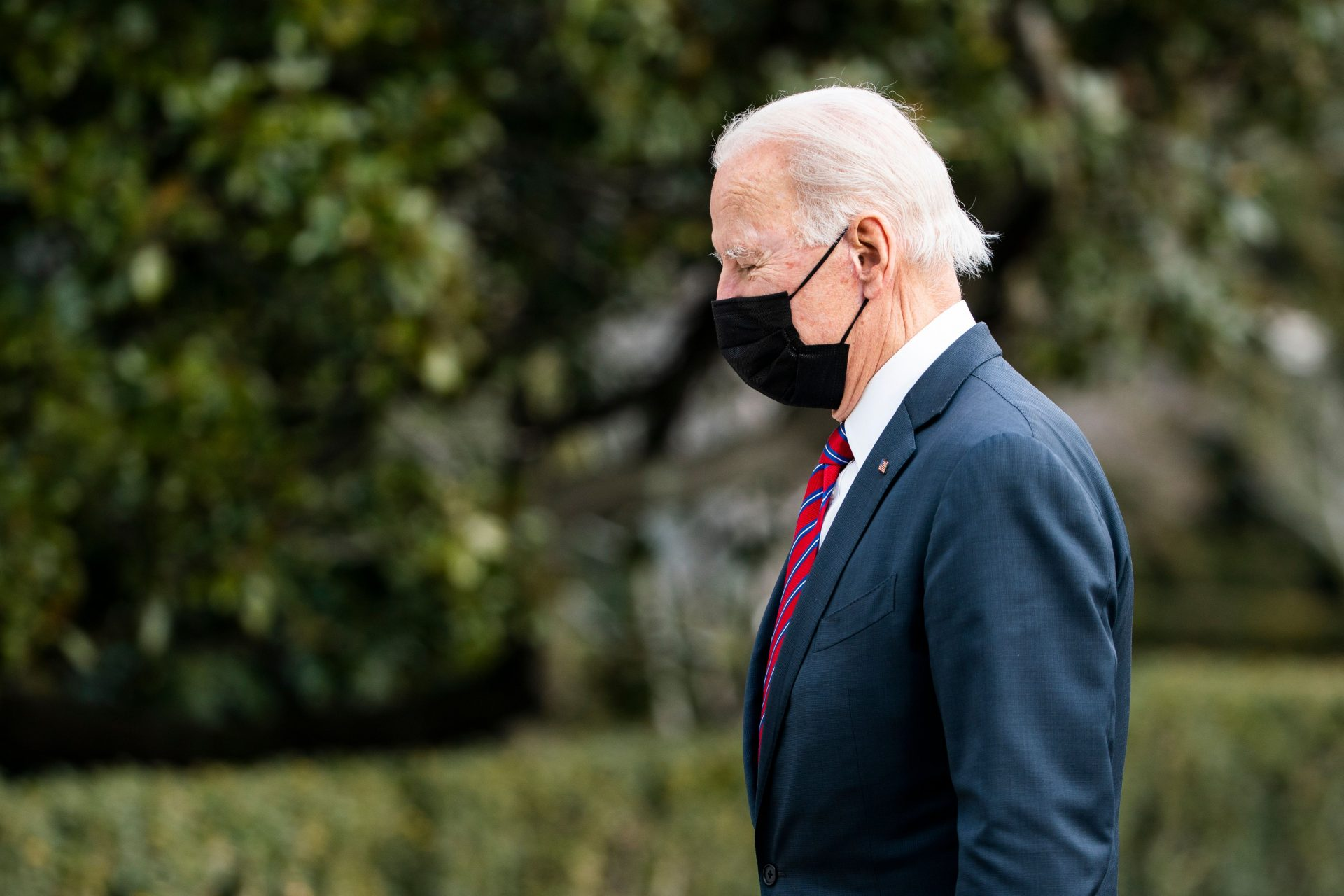 Mandatory Credit: Photo by JIM LO SCALZO/EPA-EFE/Shutterstock (11736789a)US President Joe Biden returns to the White House, in Washington, DC, USA, 29 January 2021, after a short visit with wounded veterans at Walter Reed Medical Center in Bethesda, Maryland.