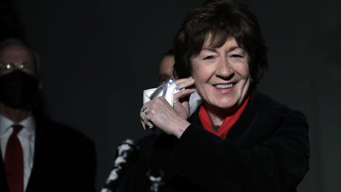 Mandatory Credit: Photo by Shutterstock (11741742m)United States Senator Susan Collins (Republican of Maine) removes a face mask to speak to the media with fellow Republican senators after their meeting with US President Joe Biden and US Vice President Kamala Harris about the American Rescue Plan in the Oval Office at the White House in Washington, DC.