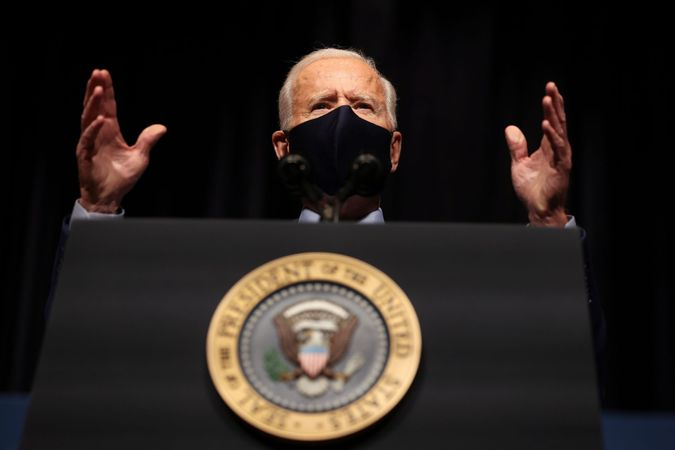 Mandatory Credit: Photo by Shutterstock (11756147d)President Joe Biden talks to staff at the National Institutes of Health in Bethesda, Maryland.