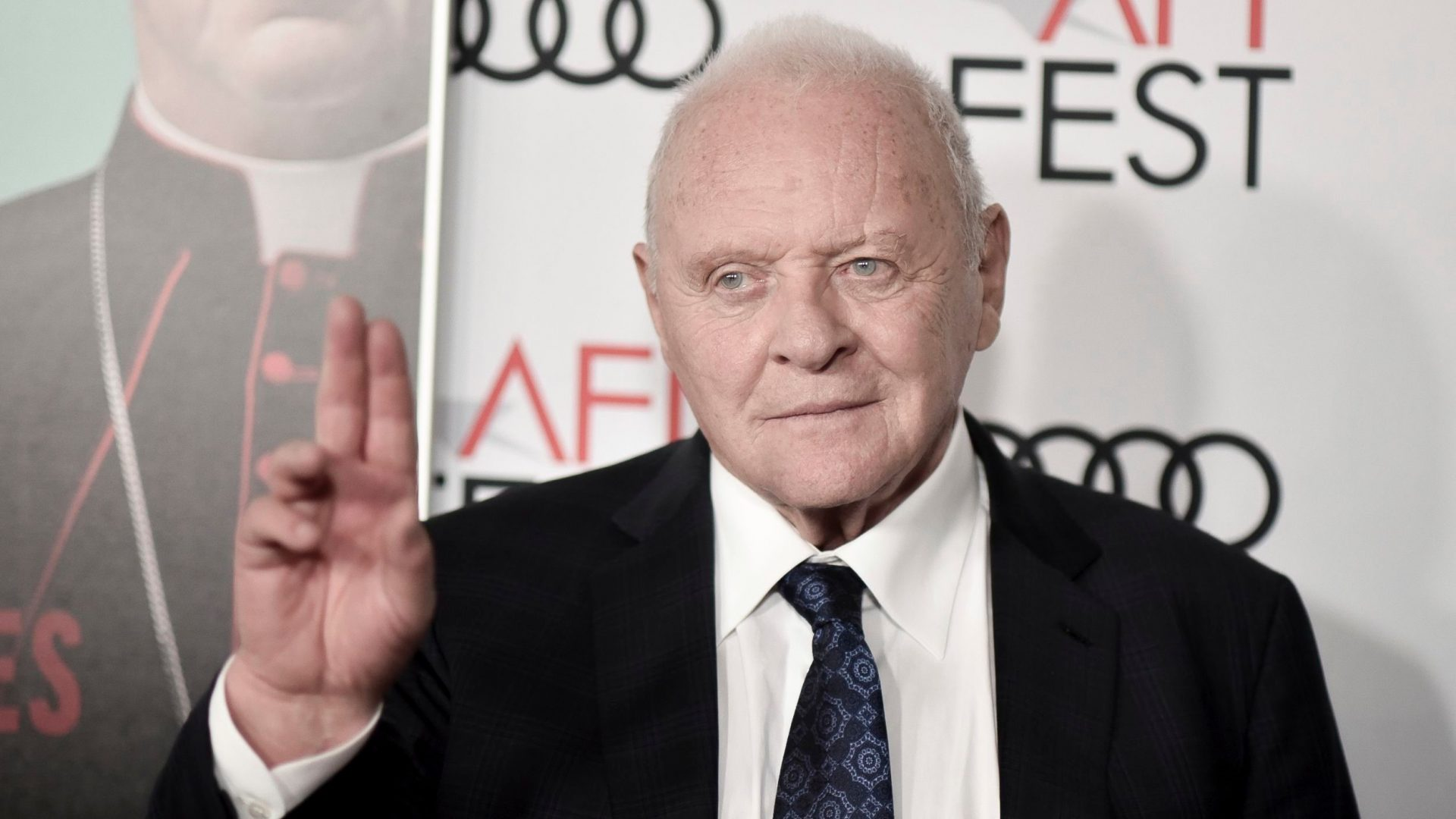 """Mandatory Credit: Photo by Richard Shotwell/Invision/AP/Shutterstock (10479290e)Anthony Hopkins attends 2019 AFI Fest - """"The Two Popes,"""" at the TCL Chinese Theatre, in Los Angeles2019 AFI Fest - """"The Two Popes"""", Los Angeles, USA - 18 Nov 2019."""