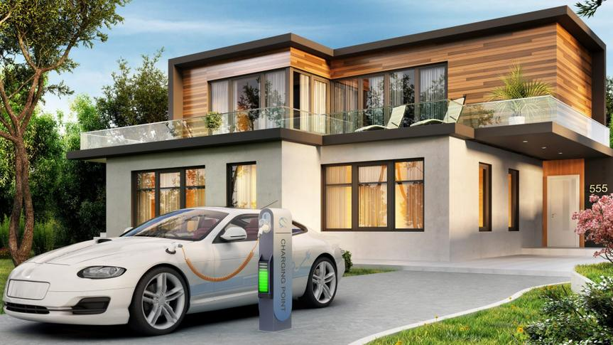 Modern house and electric vehicle charging station.