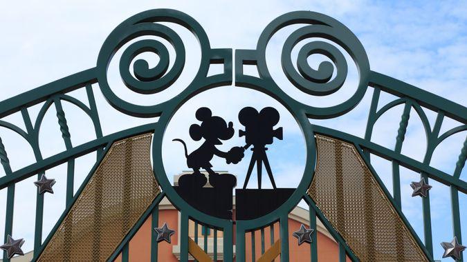 """Paris,France,July 10th 2010:Detail of the entrance gate in Walt Disney Studios in Paris."