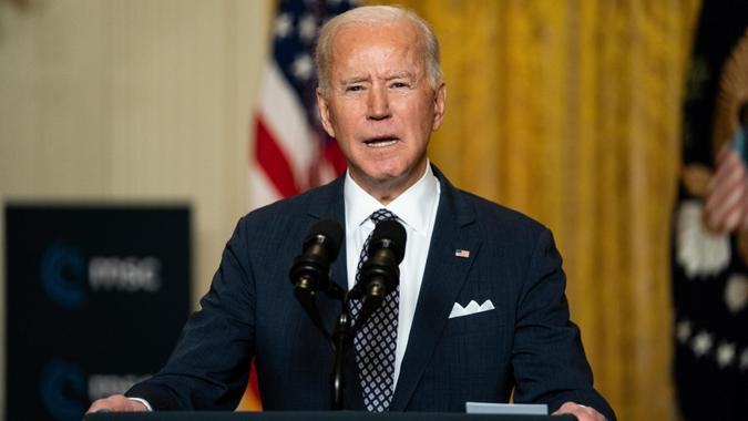 Mandatory Credit: Photo by Anna Moneymaker/POOL/EPA-EFE/Shutterstock (11766927y)US President Joe Biden delivers remarks at a virtual event hosted by the Munich Security Conference in the East Room of the White House in Washington, DC, USA on 19 February 2021.