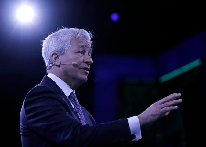 Mandatory Credit: Photo by PETER FOLEY/EPA-EFE/Shutterstock (10424024x)Jamie Dimon, Chairman and CEO of JPMorgan Chase speaks at the Bloomberg Global Business Forum 2019 at the Plaza Hotel in New York, New York, USA, 25 September 2019.