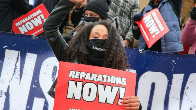 Mandatory Credit: Photo by Bryan Dozier/Shutterstock (11759572ao)Demonstrators with the Reparationist Collective gather at the Lincoln Memorial in Washington, D.