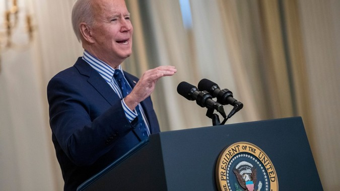 Mandatory Credit: Photo by SHAWN THEW/EPA-EFE/Shutterstock (11788903l)US President Joe Biden delivers remarks on the Senate Passage of the 1.