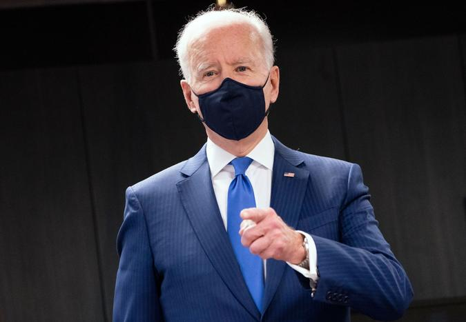 Mandatory Credit: Photo by Shutterstock (11791605e)United States President Joe Biden delivers remarks as he visits a Veterans Affairs (VA) COVID-19 vaccination center in Washington, DC.