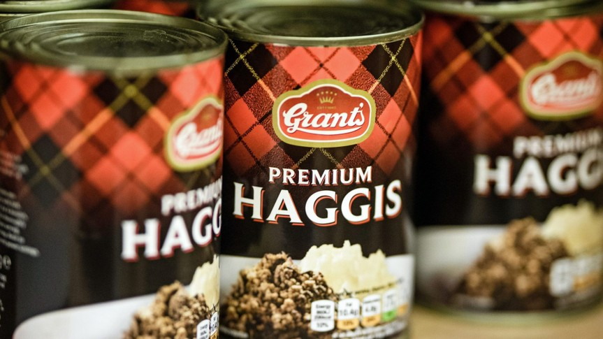 Mandatory Credit: Photo by CLEMENS BILAN/EPA-EFE/Shutterstock (10064124n)Cans of Premium Haggis seen at the shop Broken English in Berlin, Germany, 16 January 2019.