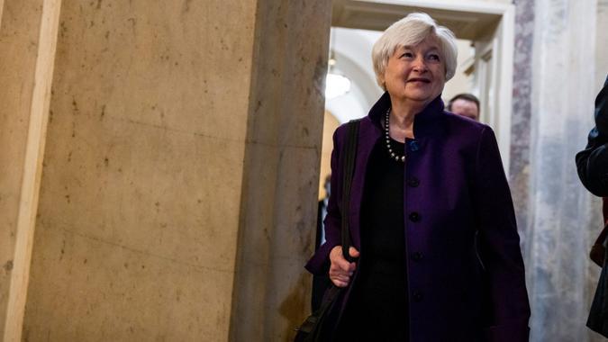 Mandatory Credit: Photo by SAMUEL CORUM/EPA-EFE/Shutterstock (12245548b)United States Secretary of the Treasury Janet Yellen leaves meeting with Senators at the U.